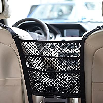 KALASONEER Dog Car Barrier 3-Layer Car Mesh Organizer, Seat Back Net Bag, Barrier of Backseat Pet Kids, Cargo Tissue Net Holder, Driver Storage Netting Pouch
