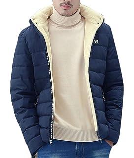 Ptyhk RG Men Down Jacket Coat Winter Slim Hooded Coat Zipper Padded Overcoat