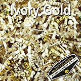 Mighty Gadget (R) 1 LB Ivory Gold Metallic Mix Crinkle Cut Paper Shred Filler for Gift Wrapping & Basket Filling