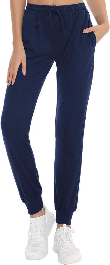 Hawiton Donna Pantaloni Sportivi in Cotone 100/% con Tasche per Corsa Sport Donna Pigiama Pantaloni Lunghi Casual Blu XL