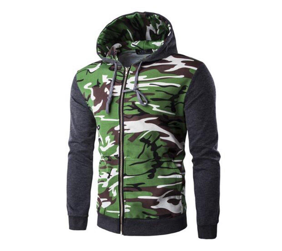 LanLan Men's Camouflage Split Joint Hoodie Overcoat Deep gray XL