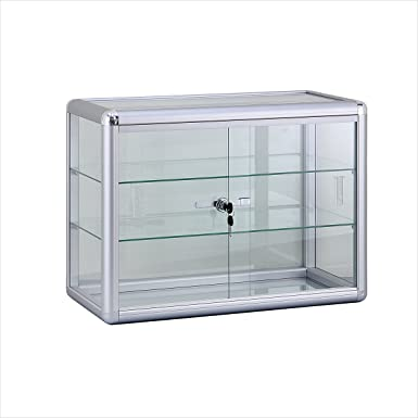 Glass Counter Top Display Showcase – Aluminum Frame with Sliding Glass Door and Lock