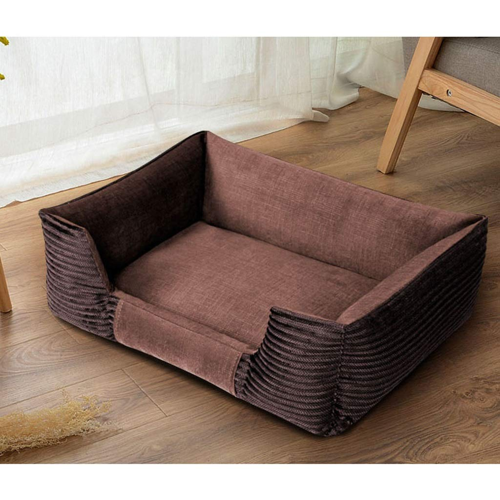 Dark brown S Dark brown S YJLGRYF Pet Sofa Teddy Kennel Four Seasons Dog Bed Washable Pet Mat Luxury Comfortable Dog House Size S, M, L, XL Pet House (color   Dark brown, Size   S)