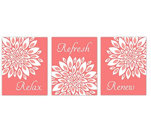 Amazon Com Coral Bathroom Art Prints Spa Bath Decor Flowers Dahlia Mum Relax Refresh Renew 3 Unframed Art Prints Handmade