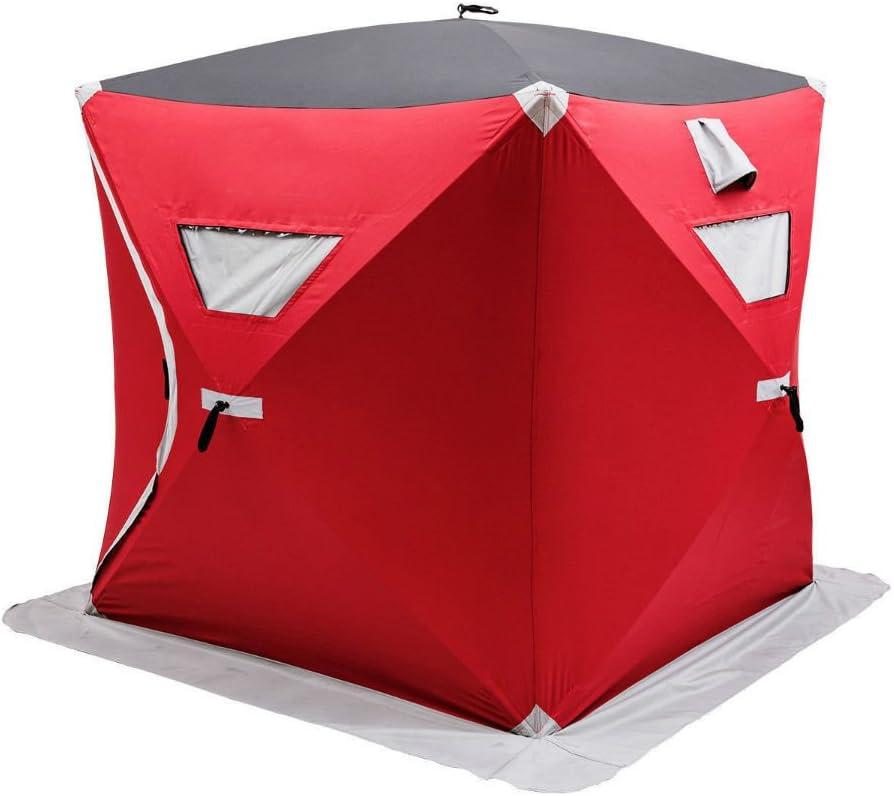 ポータブルポップアップ2-personアイスシェルター釣りテントShanty w/バッグアイスアンカーレッド