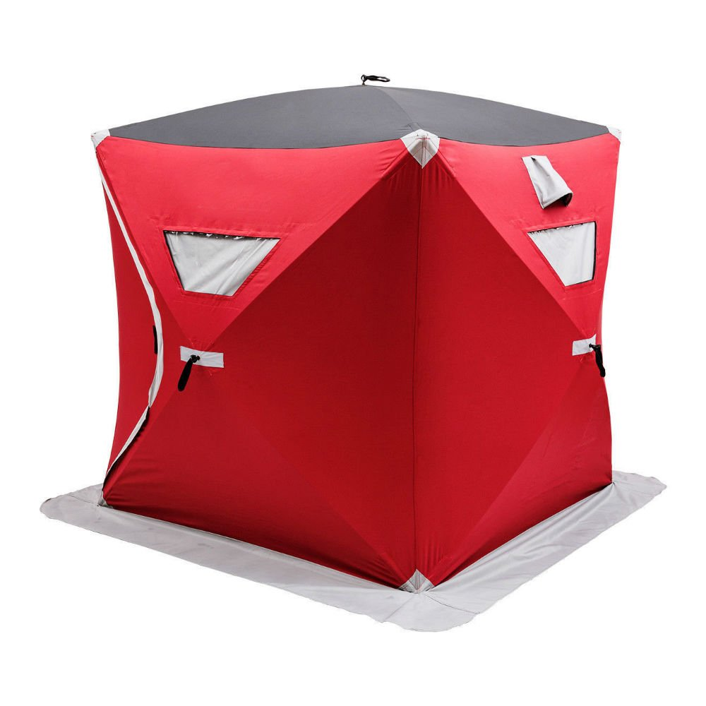 Portable Pop-up 2-person Ice Shelter Fishing Tent Shanty w/ Bag Ice Anchors Red