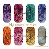 160 Grams Mica Colorants Lot of 8 Cosmetic 20g Soap and Craft Color Pigment Powders Teal Yellow Pink Orange Purple Hot Magenta Pink Fuchia White Blue in Baggies Set