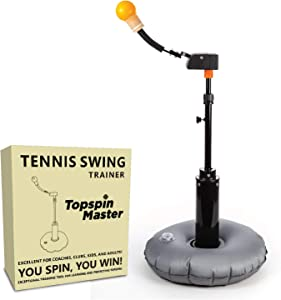 Topspin Master Tennis Swing Trainer - Portable at-Home Training and Practice Tool - Retractable Ball, Adjustable Height, Firm Base - Indoor or Outdoor Personal Coach and Partner for Kids and Adults