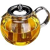 Waroomss - Teiera/bollitore in vetro, con infusore per fiori e foglie di tè, resistente al calore, compatibile con piano a induzione