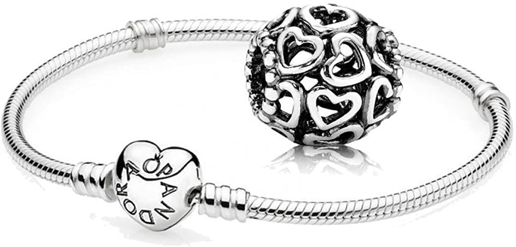 Coffret cadeau original Pandora - 1 bracelet en argent avec fermoir en  forme de coeur 590719 et 1 magnifique charme motif Cœur 790964