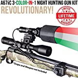 Cheap Wicked Lights A67iC 3-Color-in-1 (Green, Red, White LED) Night Hunting Gun Light Kit with Intensity Control for Coyote, Predator, Varmint & Hogs