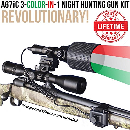 Wicked Lights A67iC 3-Color-in-1 (Green, Red, White LED) Night Hunting Gun Light Kit with Intensity Control for Coyote, Predator, Varmint & ()