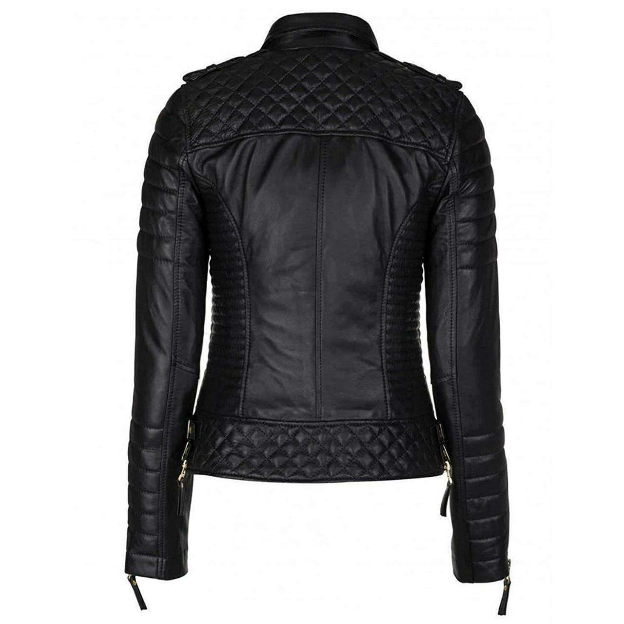 4c2baf9da Urbanoutfitters Women's Brando Quilted Motorcycle Black Leather ...