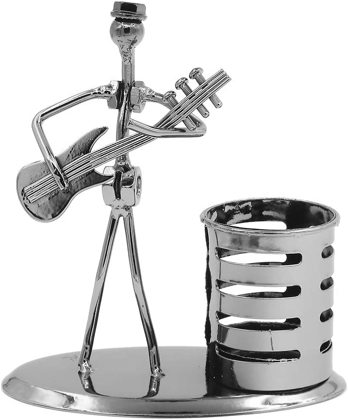 Music Musician Theme Iron Hat Man Art Steel Metal Creative Personality Pen Holder Pencil Holder Cup Pot Office Students Desktop Music Decoration Decor Toy Gift Ornaments (D004-3 Electric Guitar)