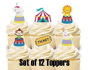 Amazon.com: 12 adornos para cupcakes, carnaval, circo ...