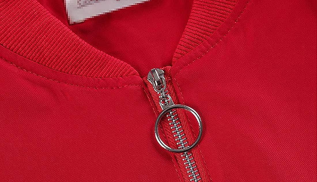 D.B.M Ladies Slim Casual Symmetrical Pocket Stand Collar Baseball Jacket