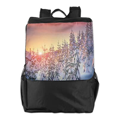Newfood Ss Snowy Landscape At Gloomy Sunrise Light In Mountain Forest Serene Outdoor Travel Backpack Bag For Men And Women