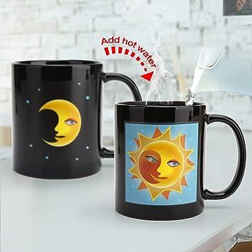 Taza de cambio de calor de cerámica, taza que cambia de color, taza de café mágica sensible al calor - Regalo de San Valentín novedoso: Amazon.es: Hogar