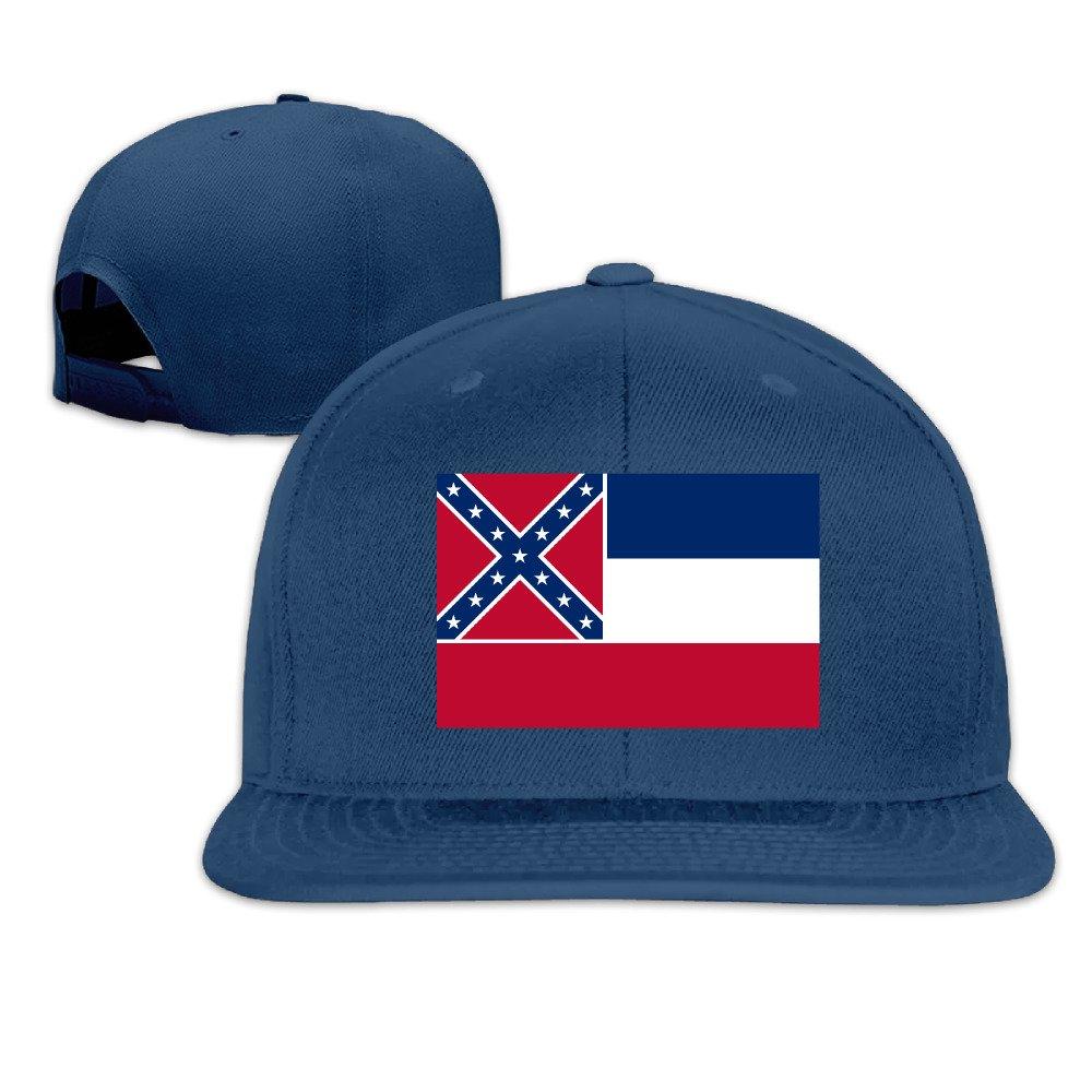 Custom Unisex Adjustable Cool Flag Of Mississippi Snapback Flat Baseball Hat One Size