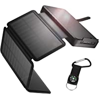 Solar Charger 26800mAh, Outdoor Solar Power Bank with 4 Foldable Solar Panels and 2 High-Speed Charging Ports for iPhone…