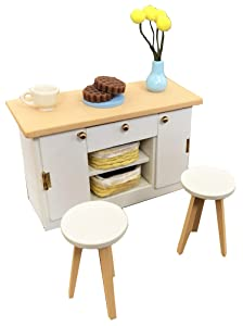 Inusitus DIY Dollhouse Miniature Kitchen Counter Set | Miniature Furniture | Dolls House Kits | Requires Assembly | 1/18 Scale (Kitchen-Island-White)