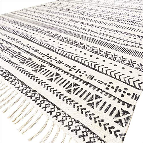 Eyes of India - 4 X 6 ft Black White Cotton Block Print Accent Area Dhurrie Rug Flat Weave Boho Bohemian (Area Dhurrie Rugs Cotton)