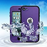 iPod 6 iPod 5 Waterproof Cases, Bovon iPod Touch 6 / 5 Waterproof Case with Kickstand, Shockproof Snow proof Dust proof Scratch Protective Carrying Case Cover for iPod Touch 6 / 5 (Purple)