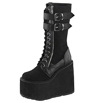3076cf35c46 Summitfashions Womens Lace Up Wedges Knee High Boots Black Platform Shoes 5  1/2 Inch Wedge