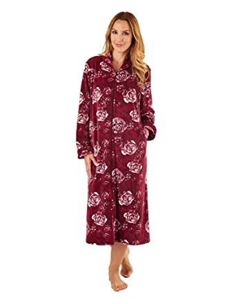 59dbca43a4 Slenderella GL8745 Women s Rasberry Red Floral Long Sleeve Dressing Gown Med