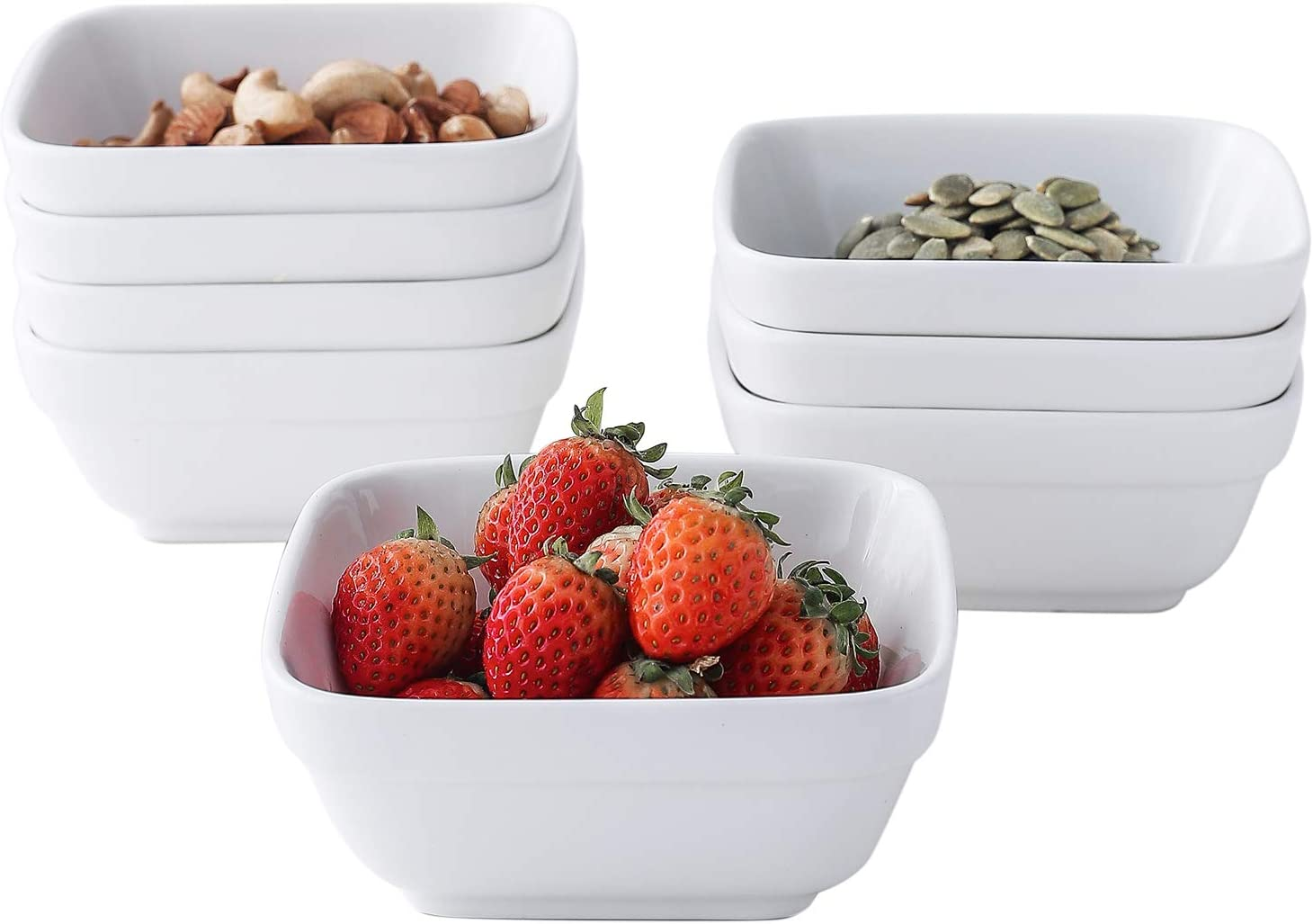 10 Ounces Porcelain Square Bowl Set - Ceramic Dessert Bowls,4.5 Inch White Ramekins for Creme Brulee and Souffle-Small Bowls for Dipping,Ice Cream,Fruit - Set of 8 - Dishwasher Microwave Safe