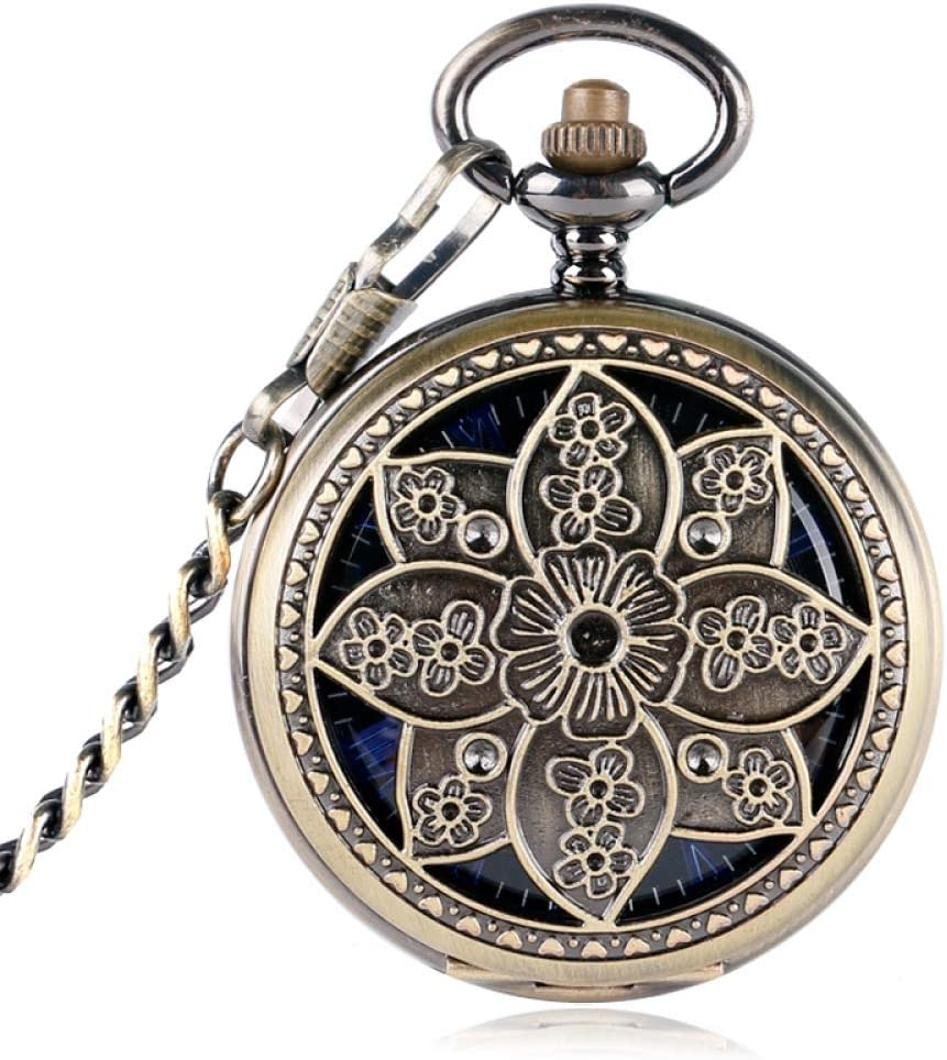 HBDML Reloj de Bolsillo Elegant Lotus Flower Mechanical Hollow Pocket Watch Bronze Copper Hand Winding Women Watch Trendy Stylish Exquisite Pendant
