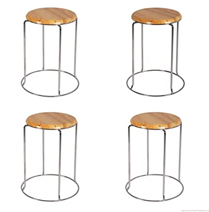 Lakdi Wood Base Metal Bar Stool Doctor Stool Chair Ideally Use for Office Home Set of 4