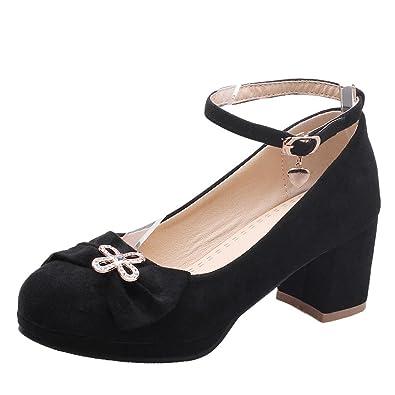 Damen Blockabsatz ankle-strap Pumps mit Schleife (34, Weiß) MissSaSa