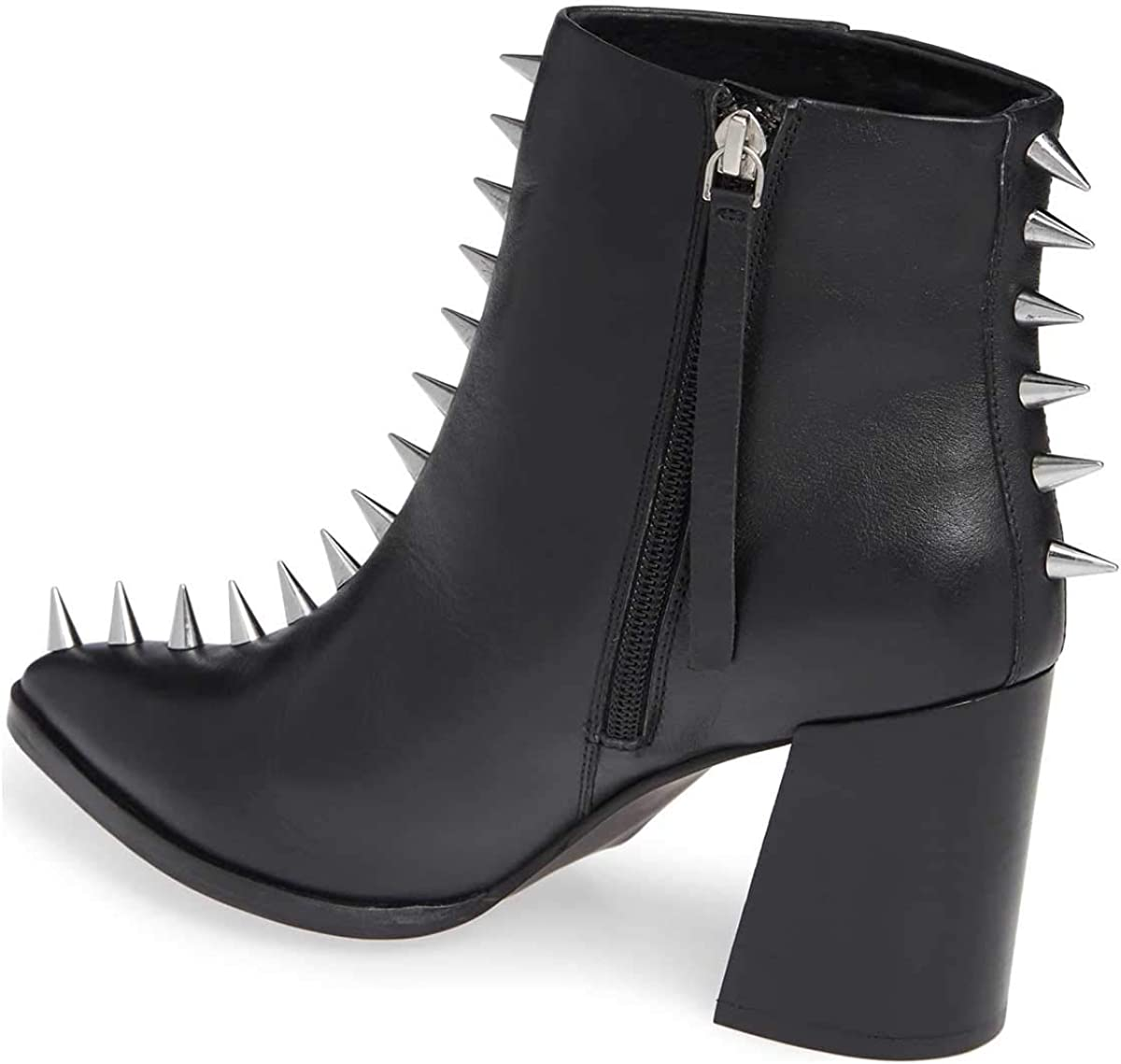 XYD Women Stylish Pointy Toe Spiked Rivet Studded Ankle Boots Mid Block Heel Side Zippers Party Dress Short Booties