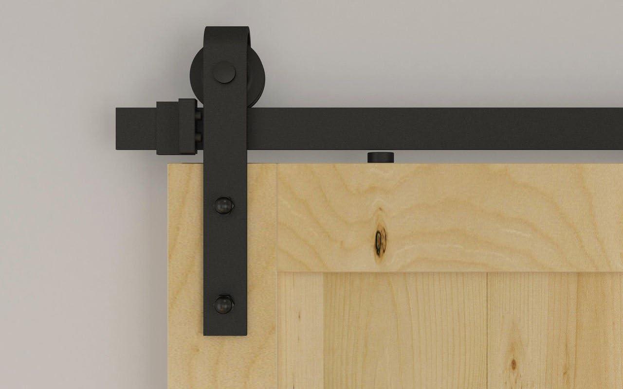 Hahaemall moderne Basic Country Int/érieur en acier Double porte de Grange coulissante mat/ériel suivi avec rouleau Soft Close Lot de 1,5/m//1.5/m