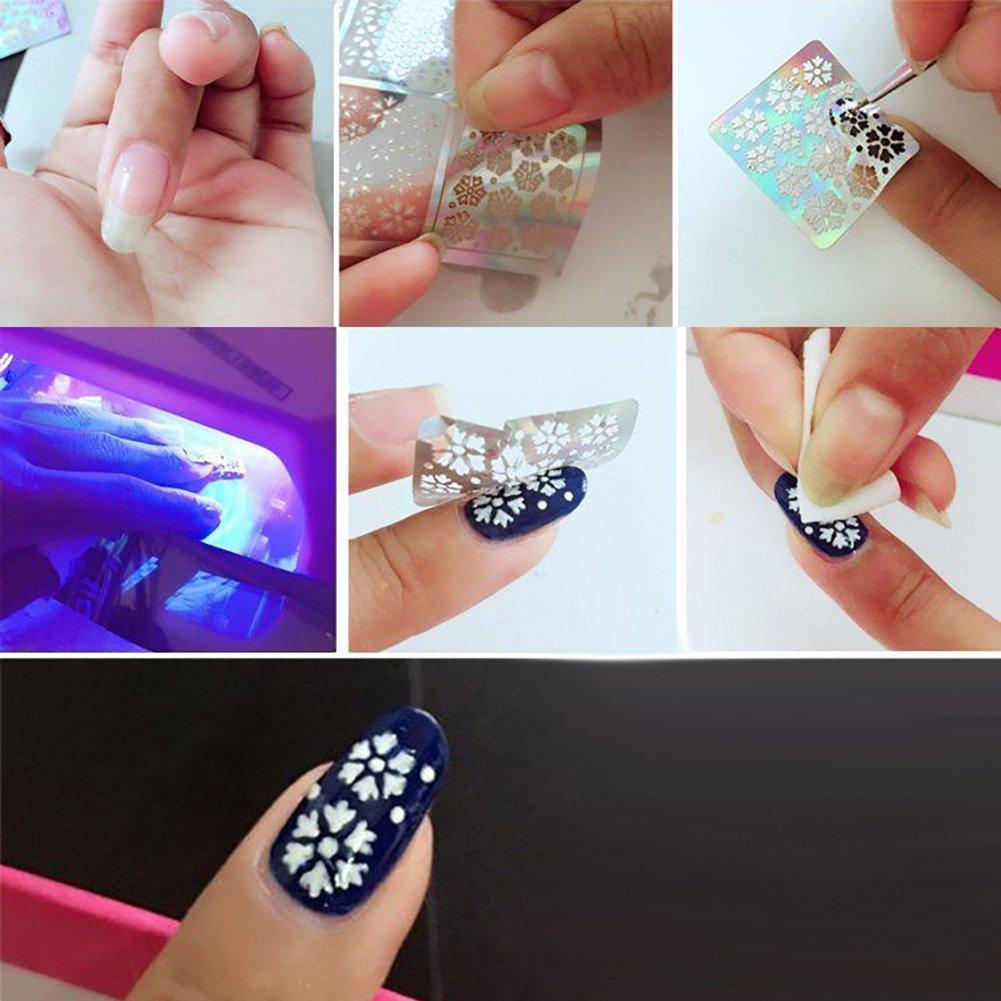 Rugjut Newest Broken Glass Foils Finger DIY Nail Art Stencil Decal ...