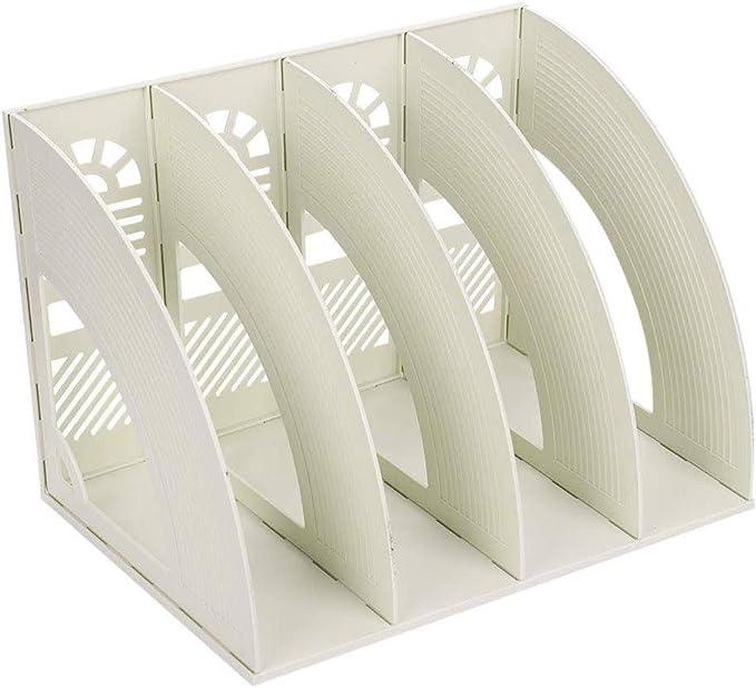 Desk File Organiser KXF 4 Sections Sturdy Desktop Plastic Magazine File Holder Frames File Dividers Cabinet File Rack Display and Storage for School Office Paper Document with File Bag