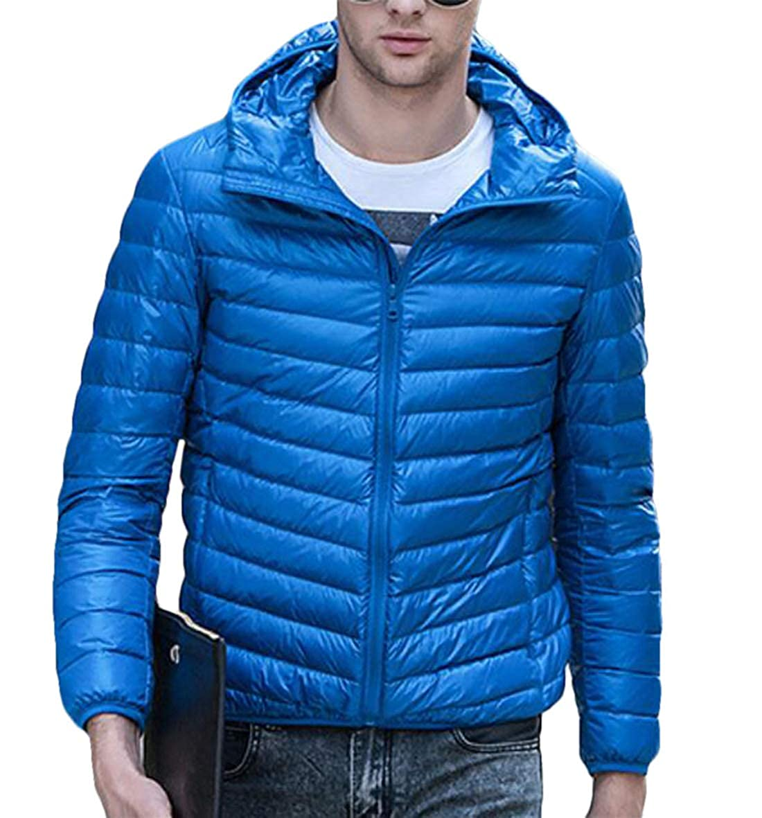 Gnao Mens Hooded Packable Down Coat Lightweight Warm Compressible Puffer Jacket