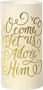 Precious Moments O Come Let Us Adore Him White 6-inch Flameless Pillar Candle 171502