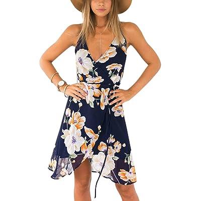 Élégant Floral Western Warp Spaghetti Strap Strap Dress pour les femmes