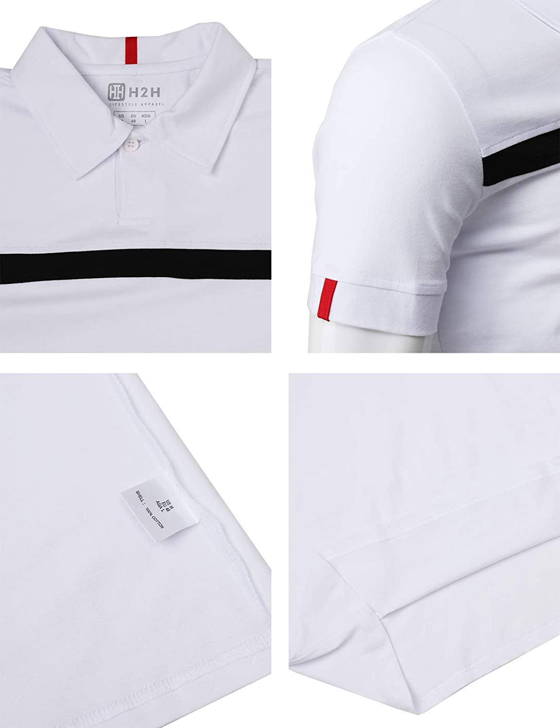 H2H Mens Casual Slim Fit Polo Shirts Short Sleeve Solid Various Styles