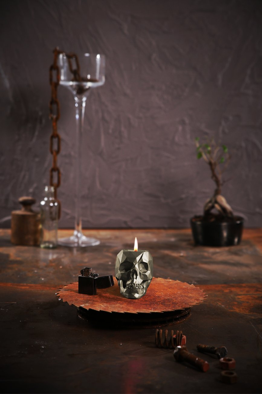 Lavender Hill Candellana Candles Candlefort Concrete Candle Skull Golden Brown Scent