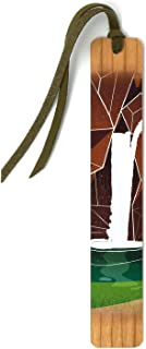 product image for Waterfall - Art by Julia Hill on Solid Cherry Wooden Bookmark with Suede Tassel