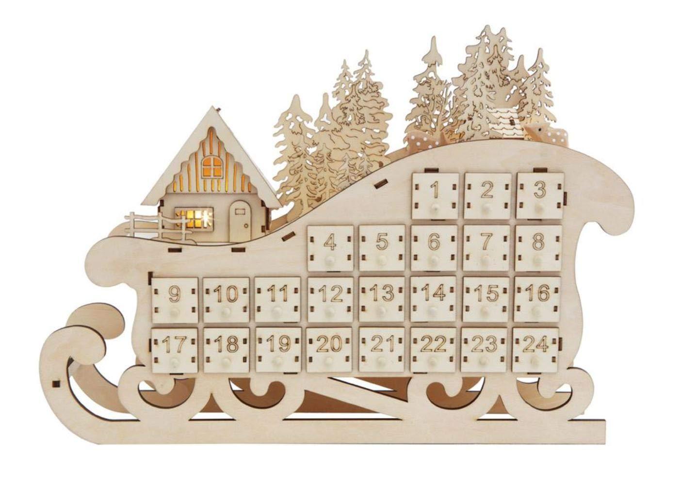 Creative Co-Op XM2272 Wood Sleigh Advent Calendar