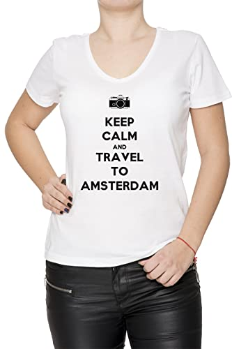 Keep Calm And Travel To Amsterdam Mujer Camiseta V-Cuello Blanco Manga Corta Todos Los Tamaños Women...