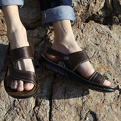 cuero Brown interiores aire la dedo al libre deportes antideslizantes del playa respirables del Sandalias de ajustables verano y los de ocasionales hombres para de sandalias de pie ocio del los convenientes AXZ4xnqE