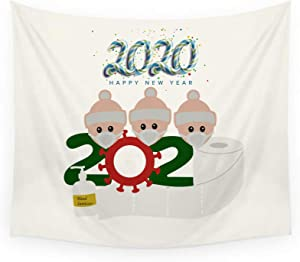 2020 Christmas Blessing Tapestry,Wall Hanging Tapestry,A Healthy and Happy Family,Hanging Tapestry Art Decor for Living Room Bedroom,Christmas Decorations(60 x 51 inches) (White B)