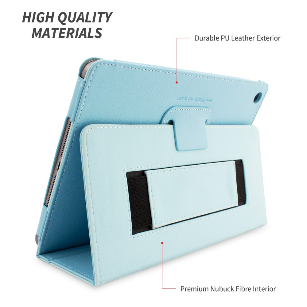 Smart Cover Case with Kick Stand for the Apple iPad Air 1 Snugg iPad Air /& New iPad 9.7 inch 2017 Case Baby Blue Leather 2013