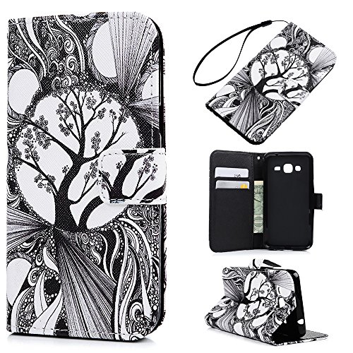 Price comparison product image Galaxy J3 Case,Samsung Galaxy J3 Case (2016) Wallet Case Flip Kickstand PU Leather Case Shockproof TPU Inner Bumper Colorful Floral Slim Protective Card Slots Cover by Badalink - Life Tree