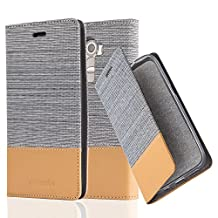 Cadorabo - Book Style Wallet for LG G4 with Stand Function, Card Slot and invisible Magnetic Closure in Fabric-Fauxleather Design - Etui Case Cover Protection in LIGHT-GREY-BROWN